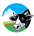 Cow head with grassland background vector image vector image