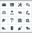 industry icons set collection of wall spatula vector image