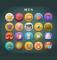 Round Bright Icons with Long Shadow Set 8 vector image
