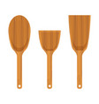 set of wooden kitchen spatula icon vector image