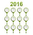 simple calendar 2016 year vector image