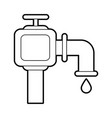 sketch silhouette image watertap with drop icon vector image