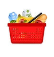 Isolated Shopping Basket With Products vector image