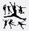Ice skating game sport silhouette vector image vector image