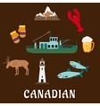 Canadian nature and culture symbols vector image vector image