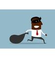 Businessman flees with stolen bag vector image vector image