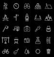 Trekking line icons on black background vector image