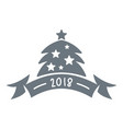 christmas tree logo simple gray style vector image