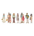 collection of young hippie men and women dressed vector image