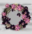 orchid flowers wreath frame on wood background vector image