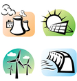 power plants set icons vector image