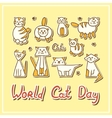 World Cat Day Card with cats on textured vector image