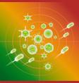 influenza viruses and e coli bacteria color vector image