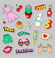 fashion girls badges patches stickers vector image