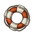 lifebuoy with rope isolated on white background vector image