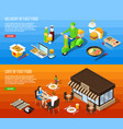 fast food delivery isometric horizontal banners vector image