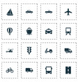 shipment icons set collection of skooter van vector image