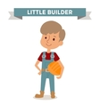Builder boy with car rude isolated on white vector image