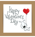 valentines card with dog and ballon vector image vector image