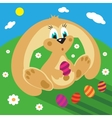 Cartoon rabbit with easter eggs on the grass vector image