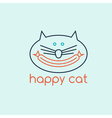 happy cat with sausage design template vector image