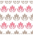Pink and brown tulips stripes seamless pattern vector image