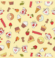 seamless pattern of hand-drawn sweets icons vector image