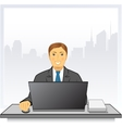 man with laptop in business office on city vector image