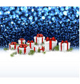 Blue New Year background with gifts vector image