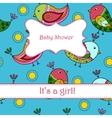 Baby shower with birds girl vector image