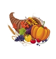 Horn of Plenty with Vegetables Fruits Stalks and vector image