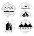 set of vintage grunge labels mountain adventure vector image