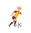 cartoon boy character playing football vector image