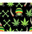 Jamaica drugs seamless pattern Rasta skull and vector image