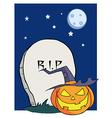 Cartoon R I P Gravestone Pumpkin vector image vector image