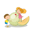 kids and vegetable fruit vector image