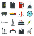 oil industry items set flat icons vector image