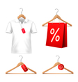 Clothes sale set with hangers and price tags vector image