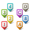 Colorful set pointers with numbers and letters vector image