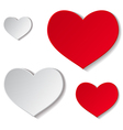 Paper red and grey hearts vector image
