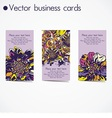 three business cards in floral design vector image