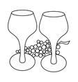 Wine glass and grape icon outline style vector image