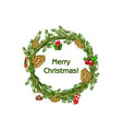 cartoon merry christmas wreath spruce with vector image