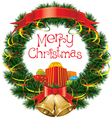 Christmas bells with christmas tree decorations vector image
