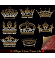 heraldic gold crown set vector image