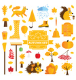 Set of Autumn Elements Isolated on White vector image vector image