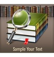 Books and magnifying glass on vector image