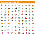 100 summer icons set cartoon style vector image