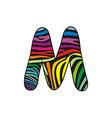 Background skin zebra shaped letter M vector image