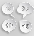 Loudspeaker White flat buttons on gray background vector image